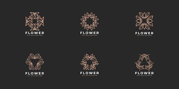 Collection de logos de rose de fleur d'art de ligne de luxe créatif