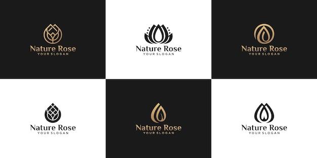 Collection de logos, roses naturelles