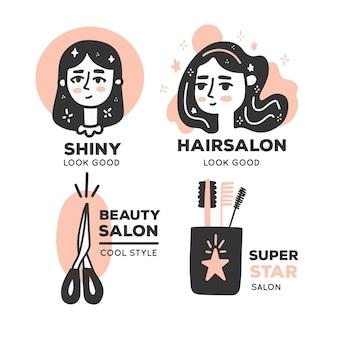 Collection de logos de salon de coiffure dessinés à la main