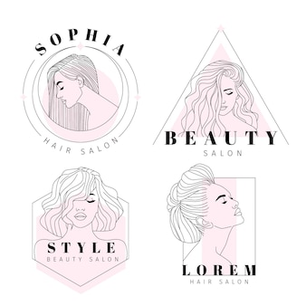 Collection de logos de salon de coiffure dessinés à la main