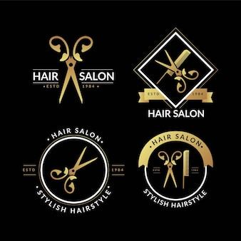 Collection de logos de salon de coiffure de luxe
