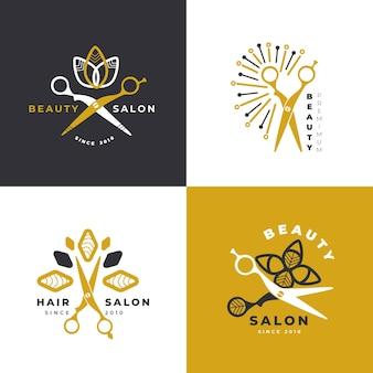 Collection de logos de salon de coiffure de luxe