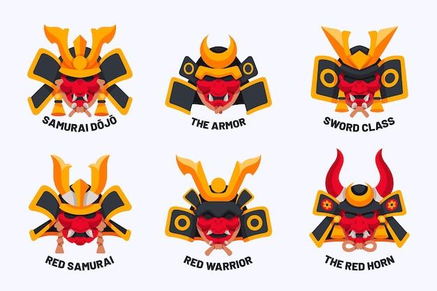 Collection de logos de samouraï plats