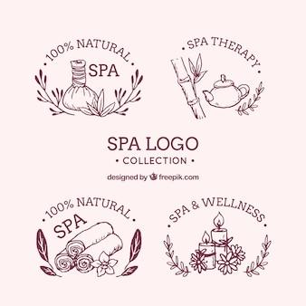 Collection de logos de spa dessinés à la main