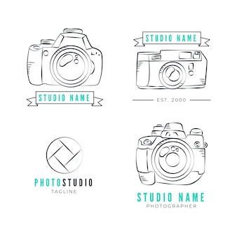 Collection de logos de studio de photographie dessinés à la main