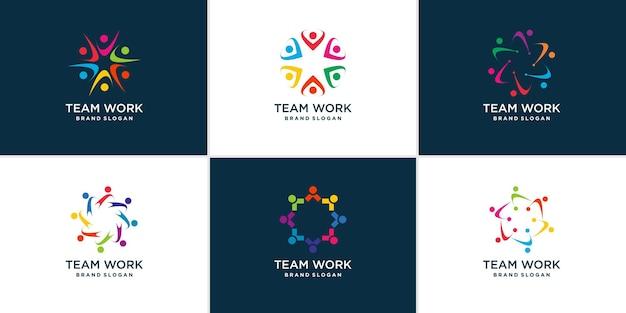 Collection de logos de travail d'équipe avec un concept abstrait moderne vecteur premium
