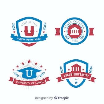 Collection de logos universitaires plats