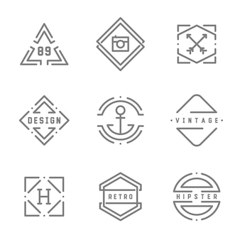 Collection logos vintage hipster monochrome