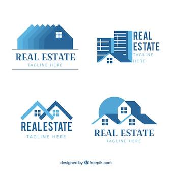 Collection de logotypes immobiliers bleus