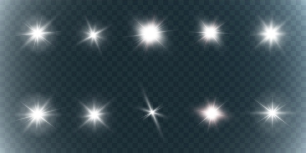 Collection de lumières brillantes brillantes. étoile brillante. soleil brillant transparent, flash lumineux.