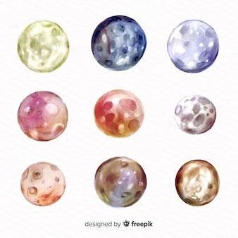 Collection de lune aquarelle colorée