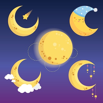 Collection de lune mignonne
