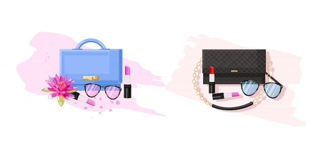 Collection de lunettes, sacs et sacs à lèvres