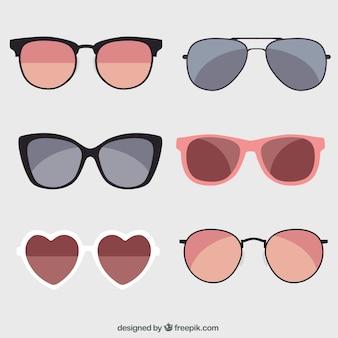 Collection de lunettes de soleil saisonnier en syle plat