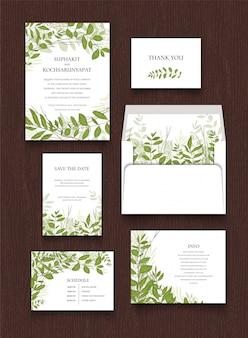Collection de luxe de feuilles de carte d'invitation.