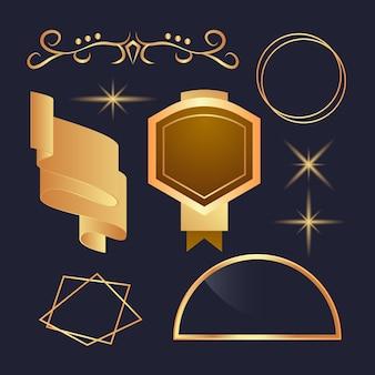 Collection luxueuse d'éléments dorés