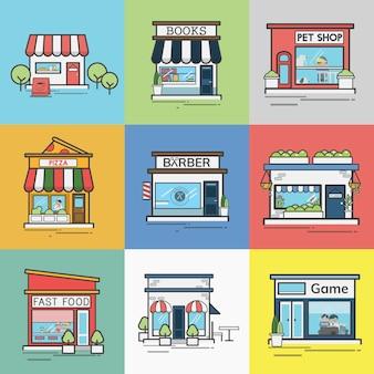 Collection de magasins et de magasins