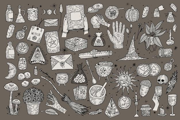 Collection magique surnaturelle d'éléments magiques. les choses de la sorcière, style de gravure rétro vintage,