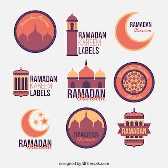 Collection de magnifiques autocollants de ramadan