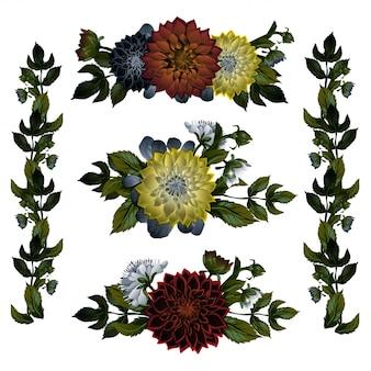 Collection de magnifiques bouquets ou bouquets de fleurs à fleurs sauvages rouges et roses et de plantes à fleurs isolées