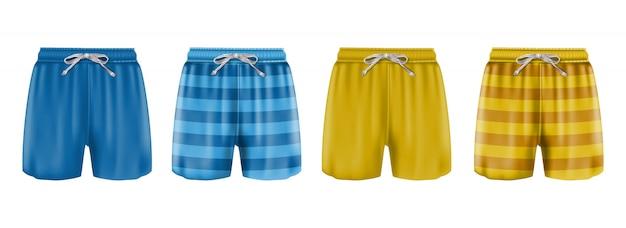 Collection de maillot de bain boxer homme à rayures ou bleu et orange. isolé sur fond blanc.