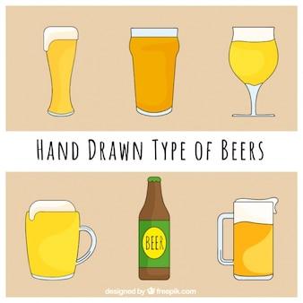 Collection de la main dessinée types de bières