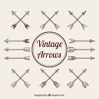 Collection de main vintage dessiné flèches