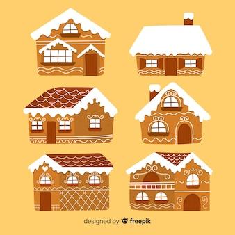 Collection de maison couverte de neige en pain d'épice