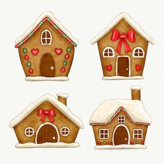 Collection de maison en pain d'épice aquarelle