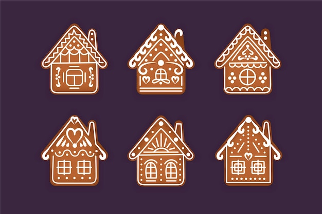 Collection de maison en pain d'épice au design plat