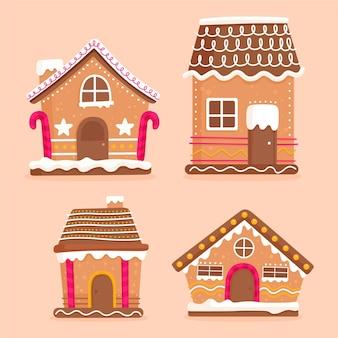 Collection de maison en pain d'épice design plat