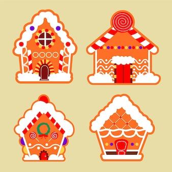 Collection de maison en pain d'épice dessiné à la main