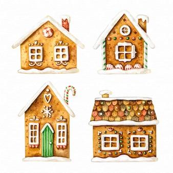 Collection maison de pain d'épice dessiné à la main
