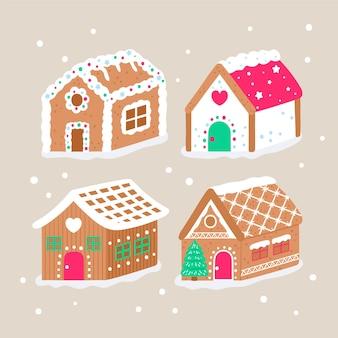 Collection de maison en pain d'épice dessinée à la main avec des flocons de neige