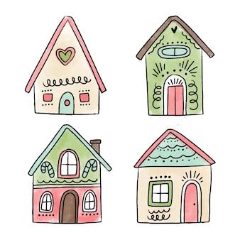 Collection de maison en pain d'épice dessinée à la main