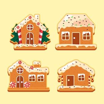 Collection de maison en pain d'épice plat