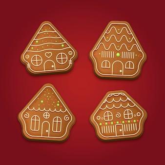 Collection de maison en pain d'épice réaliste