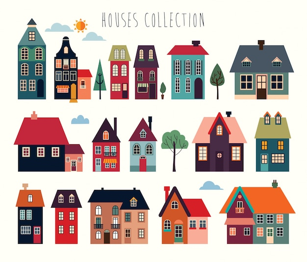 Collection de maisons et bâtiments