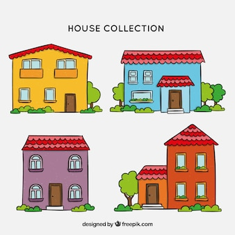 Collection de maisons avec beaucoup de couleurs