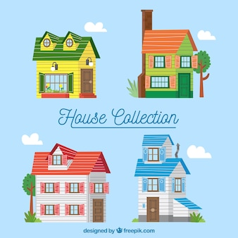 Collection de maisons colorées dans un style plat