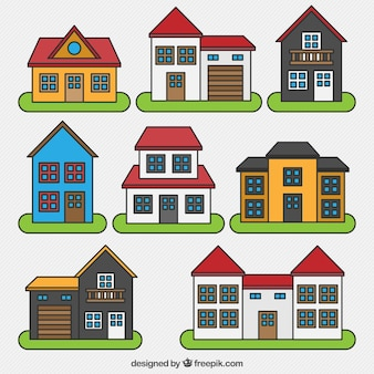 Collection de maisons avec des conceptions différentes