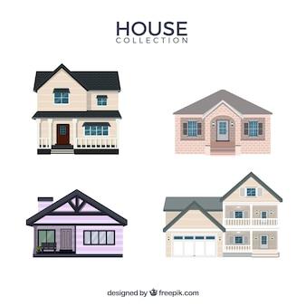 Collection de maisons dans le style plat