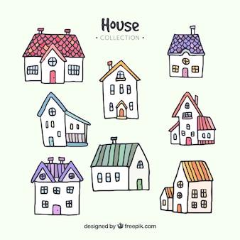 Collection de maisons dessinées à la main