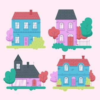 Collection de maisons différentes minimales