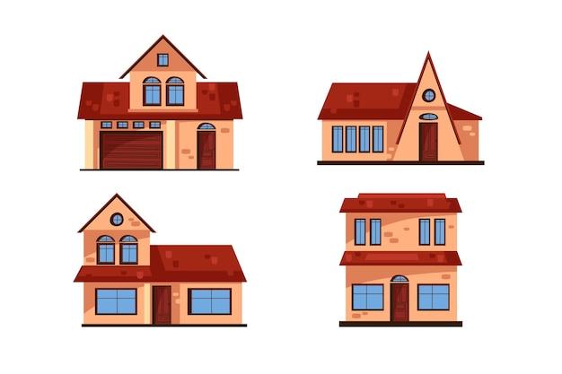Collection de maisons différentes minimes