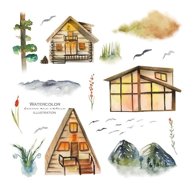Collection de maisons de forêt aquarelle et éléments de la nature