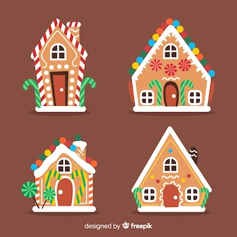 Collection de maisons de gingercookie de noël