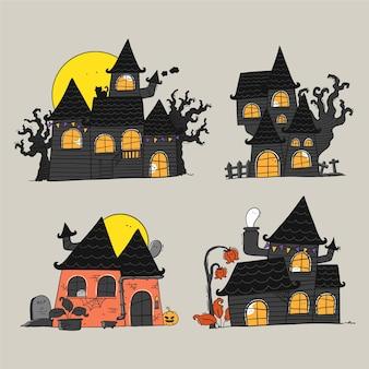 Collection de maisons hantées d'halloween dessinées à la main