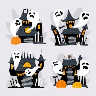 Collection de maisons hantées d'halloween plates dessinées à la main