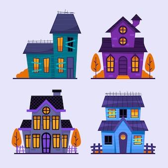 Collection de maisons hantées plates d'halloween